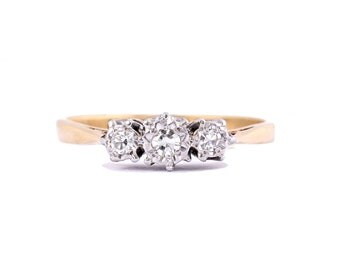Past Present Future Vintage Diamond Anniversary Ring