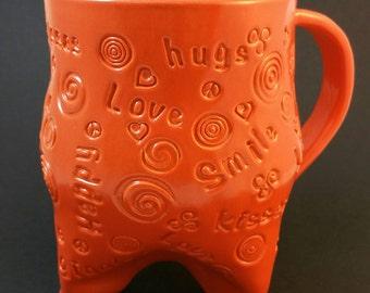 Words of Happiness Brilliant Orange Handmade Ceramic Mug