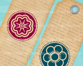 FLORAL BOOKMARKS Digital Collage Sheet Printable Bookmarks Flowers - no. 0111