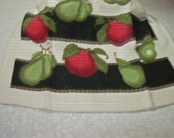 Crochet hanging Towel, Apples, Black top
