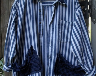 3-4X Garden Smock/ Upstyled Man's Blue and White Shirt/ Denim and Chenille Tunic/ Sheerfab Altered Funwear