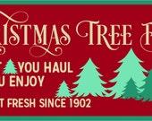Christmas Tree farm Stencil 7 mil Transparent Blue mylar Folk Art From The Harbor