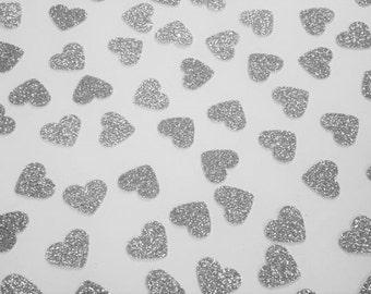 Silver Glitter Heart Confetti, Wedding Reception Decoration, Table Scatter, Paper Confetti, Bridal Shower Decor