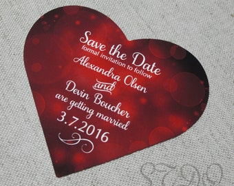 Heart shape save the date magnets (free ship)