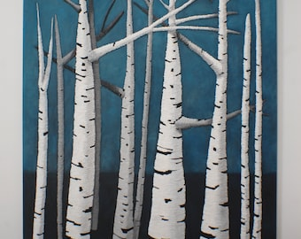 Beech Trees Painting - Large Abstract Blue & White String Art Original Wall Art