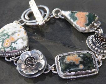 RESERVED for gardenstategirl oOo ocean jasper and sterling silver metalwork link bracelet