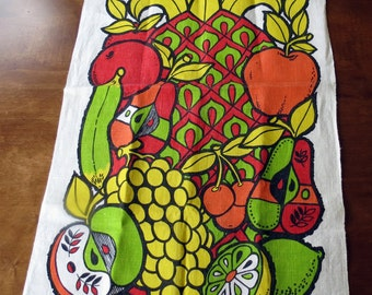Vintage Georges Briard Fruit Tea Towel Signed