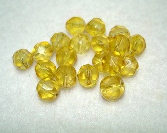 Yellow Faceted Round Glass Beads (Qty 18) - B2954