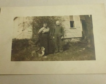 Vintage Photo Post Card Couple with Dog PC1303