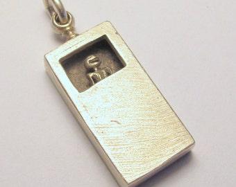 silver necklace SWINGING STEAMPUNK ALIEN solid sterling silver