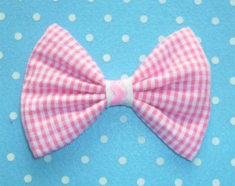 Cute Pink GinghamHair Bow Clip