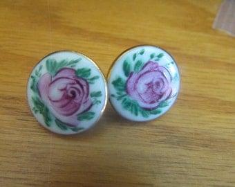 Handpainted rose screw backs