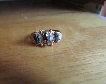 brown rhinestone ring