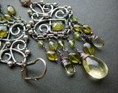 Filigree and gemstone chandelier earrings II - sterling silver, green vesuvianite, lemon quartz and peridot