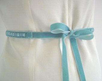 Aqua Beaded Velvet Sash, Bridesmaid Sash Belt, Hand Beaded Aqua Ribbon Sash, Womens 16mm Width Ribbon Belt, Velvet Ribbon Wedding Sash Belt