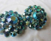 Vintage Button- 2 medium size matching flower design, silver metal, with aqua marine iridescent rhinestones,  (sept 329)
