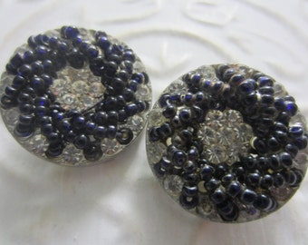 Vintage Buttons-2  large beautiful, unique, black seed beads with rhinestones  silver metal (lot aug 23b)