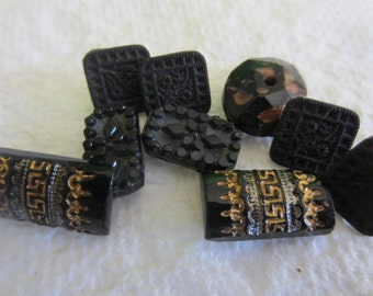 Vintage Buttons -  beautiful lot of 9, some matching and some hand painted Victorian jet black glass, pressed designs, very old (oct 238)