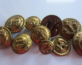 Vintage  Buttons-  assorted gold metal designs and sizes, Anchor nautical motifs, lot of 10 (lot no  jan 100b)