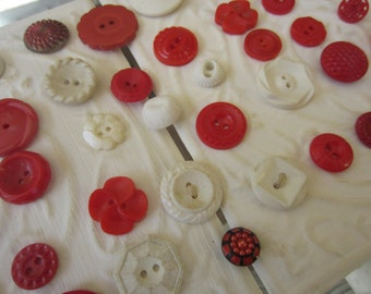 Vintage Buttons - Cottage chic mix of red and white lot of 55 old and sweet(apr307b)