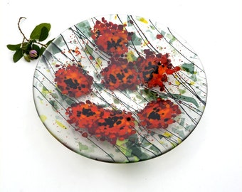 Fused glass bowl, red poppies, round, transparent