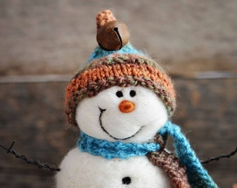 Snowman - handmade - needle felted- one of a kind -  717