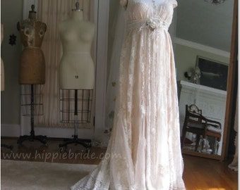 Hippie Lace Wedding Gown, Plus Size wedding Dress, Renaissance Wedding dress, Boho Wedding Dress, Vintage Bridal Gown, One of a kind