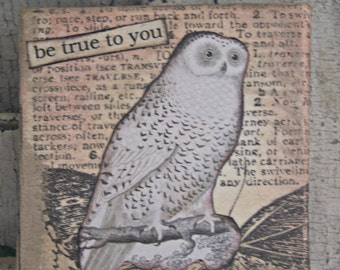 Handmade Original Mini Collage Vintage Collage Altered Mixed Media Vintage Owl Art Collage Vintage Mixed Media Altered Art Vintage Lace