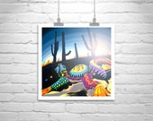 Oaxacan Style, Desert Photography, Digital Art, Arizona, Cactus, Cacti, Reptiles, Sunset, Southwest, Square, Wall Art, Sunsets, Silhouette