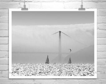 Sailing Art, Kitesurfing Art Photography, Sailboat, Golden Gate Bridge, Kitesurfer, San Francisco Bay, Black and White, Bay Area