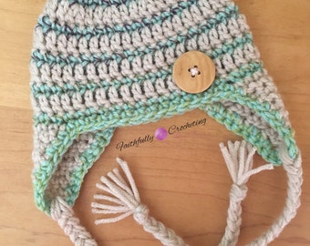 Newborn earflap hat... Ready to ship.. Photography prop