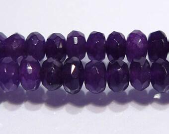 Purple Jade Faceted Rondelle Gemstone Beads.....6x4mm....10 Beads
