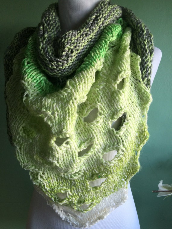 Hand Knit Wrap Scarf with Unique Detail Shades of Green
