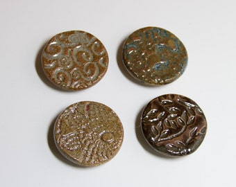 4 Round Stamped Clay Magnets - 102