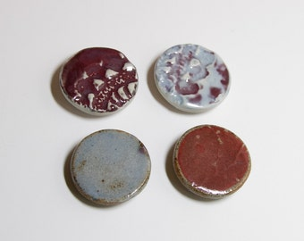 4 Round Stamped Clay Magnets - 103