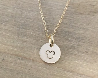 14K Solid Gold Necklace - Hidden Mickey - Dainty Gold Jewelry - Mickey Mouse