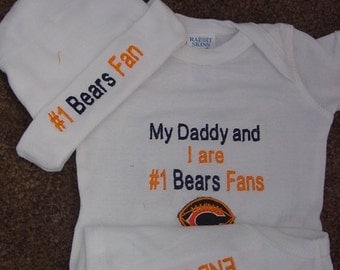 Chicago Bear Football Baby Infant Newborn Creeper Hat Cap Beanie Set