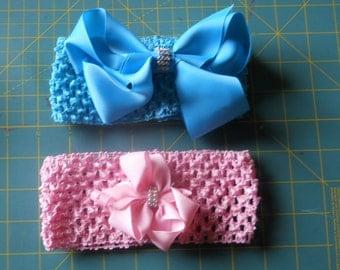 One headband, BLUE with BLUE deco bow.