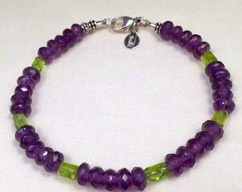 Amethyst and Peridot Gemstone Bracelet
