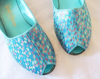 Vintage House Slippers - Daniel Green Brocade - Turquoise Wedge Slipper Shoes E 7.5