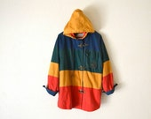 90's Colorblock Hooded Parka/Coat