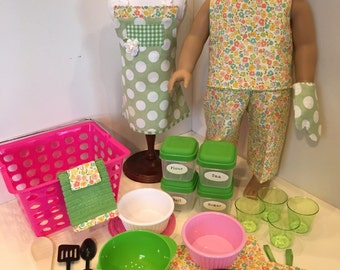 In the Kitchen - Green & Pink - American Girl or 18-Inch Doll Play Set