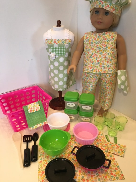 in the kitchen green pink american girl or 18 inch doll. Black Bedroom Furniture Sets. Home Design Ideas