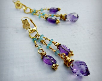 Amethyst Drop Earrings - 24k Gold Gemstone Earrings -  BOHO Chic - Apatite and Amethyst - Haute Fashion - Daughter of Earth - READY to Ship