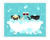 195D Wine Art - Fawn Pug and Black Pug with Wine Glasses Wall Art - Two Dogs Drinking Wine Art - Pug Print - Pug Art - Bath Art - Wine Print
