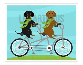 231D Dog Print - Two Dachshunds on Tandem Bicycle Wall Art - Dotson Print - Bicycle Drawing - Dachshund Wall Art - Dog Riding Bicycle Print