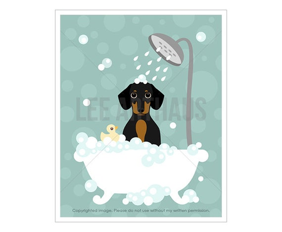 52F - Pet Print - Tricolor Dachshund in Tub Wall Art - Art for Boys Bathroom - Dachshund Drawing - Dachshund Puppy Print - Bubble Bath Art