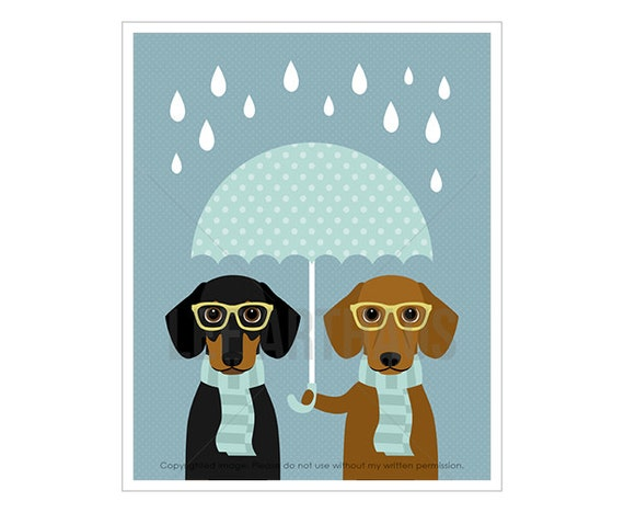 56F Umbrella Art - Two Dachshund Dogs with Blue Umbrella Wall Art - Umbrella Drawing - Dachshund Puppy Print - Dog Wearing Glasses Print