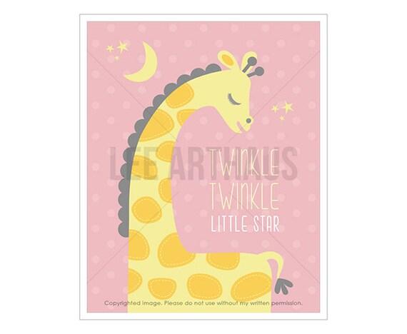 16T Giraffe Art - Twinkle Twinkle Little Star - Pink Baby Giraffe Wall Art - Pink Nursery Art Prints - Giraffe Drawing - Baby Girl Nursery