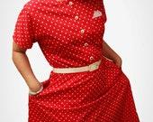 Vintage 1980's Red Polk-Dot Dress WITH Original Belt